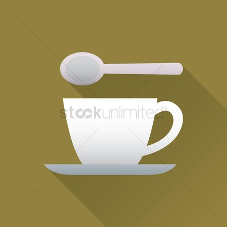 Crockery : Cup and saucer with a spoon