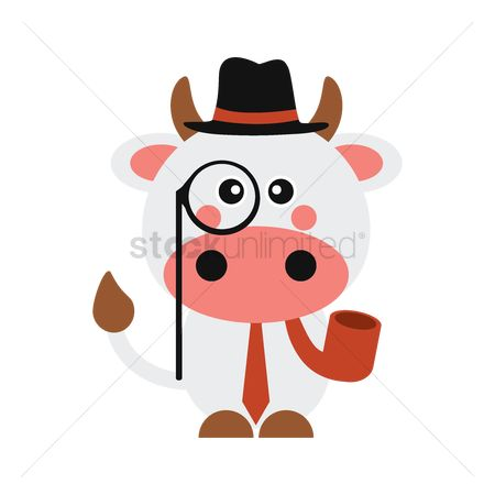 Smoking pipe : Cute cow with hat and smoking pipe