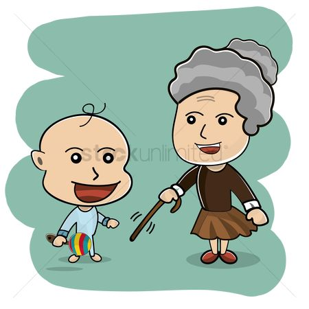Grandparent : Cute little grandma and baby
