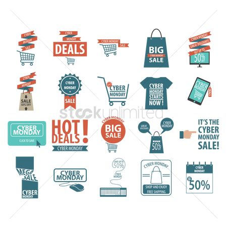 Shopping cart : Cyber monday sale designs set