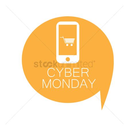 Monday : Cyber monday shopping cart on smartphone