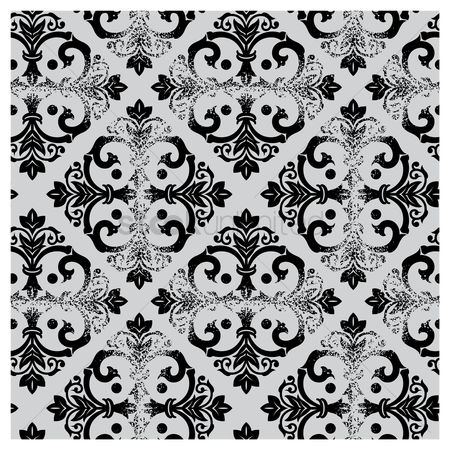 Royal : Damask vintage black and white pattern