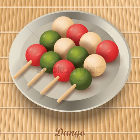 Japanese cuisines : Dango dumplings in plate