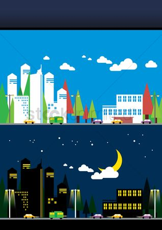 Automobile : Day and night city background