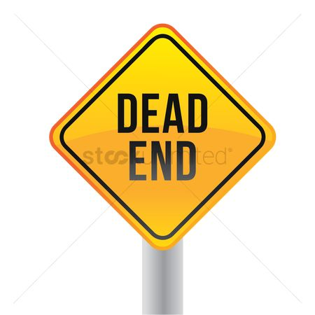 Caution : Dead end road sign