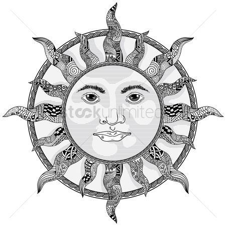 Sketching : Decorative sun design