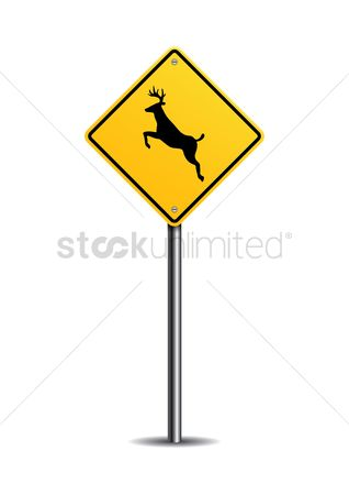 Caution : Deer crossing sign
