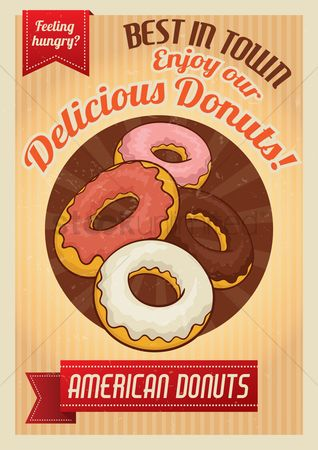 Grunge : Delicious donuts poster
