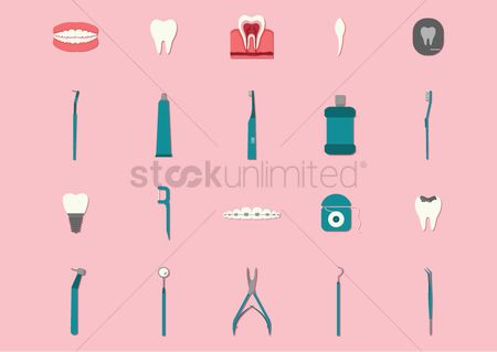 Tooth with braces : Dental icons