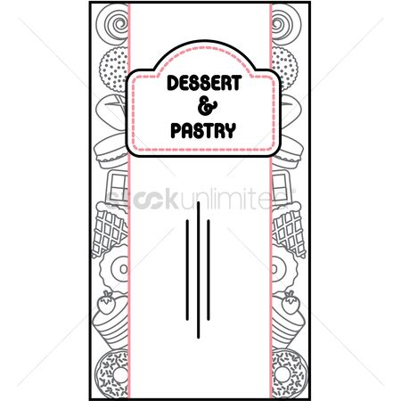 Baguettes : Desserts and pastry menu card design