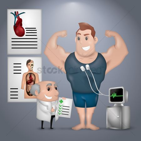 Health cares : Doctor checking bodybuilder