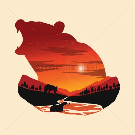 Double exposure : Double exposure bear and forest