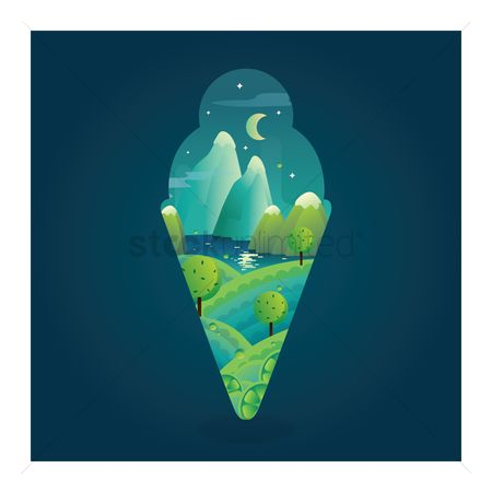 Combine : Double exposure ice cream cone and nature