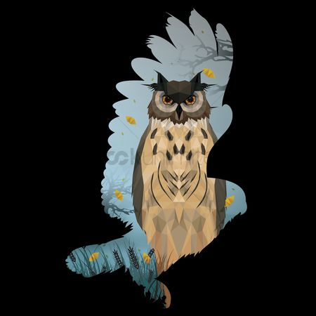 Owl : Double exposure of eagle and owl