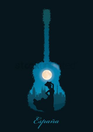 Musicals : Double exposure of guitar and flamenco dancer