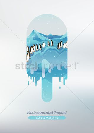Dripping : Double exposure of ice cream and penguins