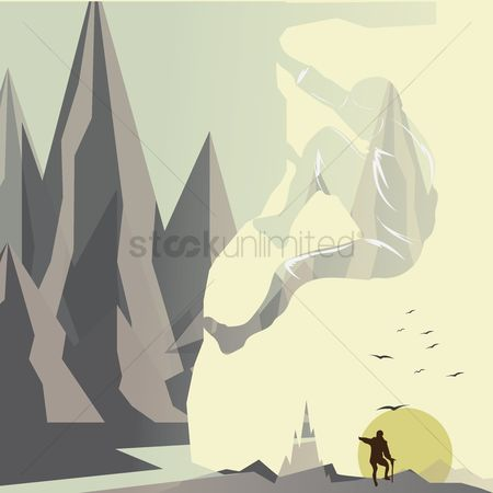 Double exposure : Double exposure of man and mountain