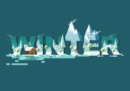 Picture : Double exposure of nature and winter text