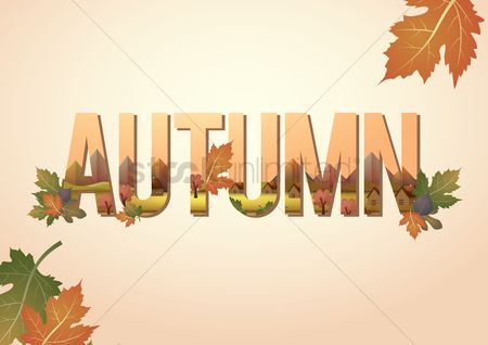 Double exposure : Double exposure of nature landscape and autumn text
