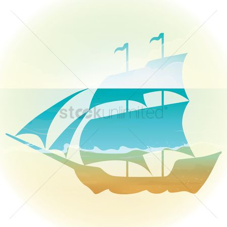 Vessel : Double exposure of sailboat and ocean