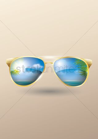 Season : Double exposure of sunglasses and beach background