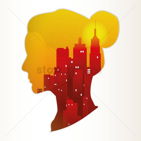 Skyscraper : Double exposure of woman and city