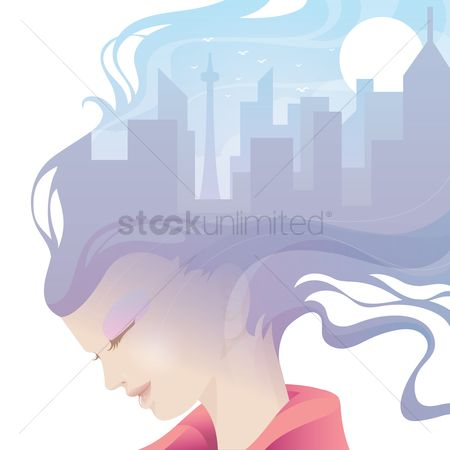 Skyscraper : Double exposure of woman and cityscape
