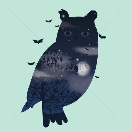 Combine : Double exposure owl