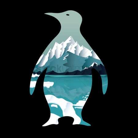 Combine : Double exposure penguin