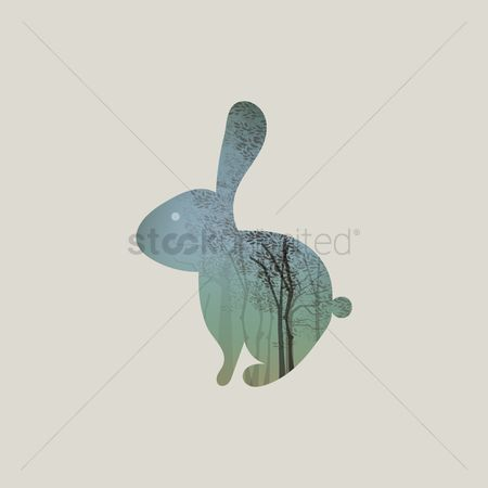Double exposure : Double exposure rabbit and forest