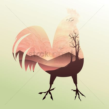 Roosters : Double exposure rooster and sunrise