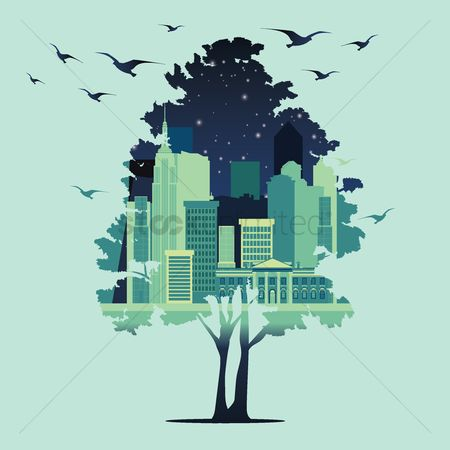 Buildings : Double exposure tree