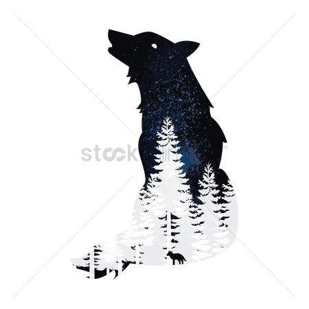 Double exposure : Double exposure wolf and forest