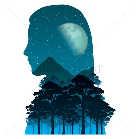 Moon : Double exposure woman
