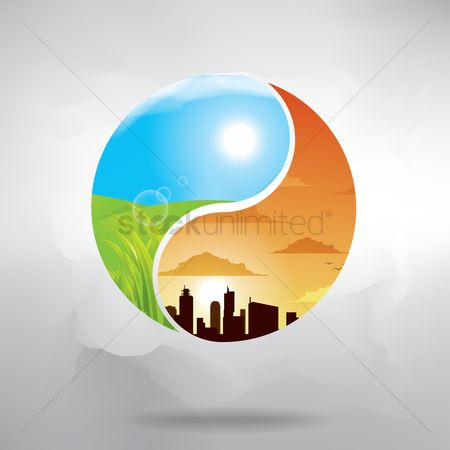 Double exposure : Double exposure yin yang with nature and cityscape