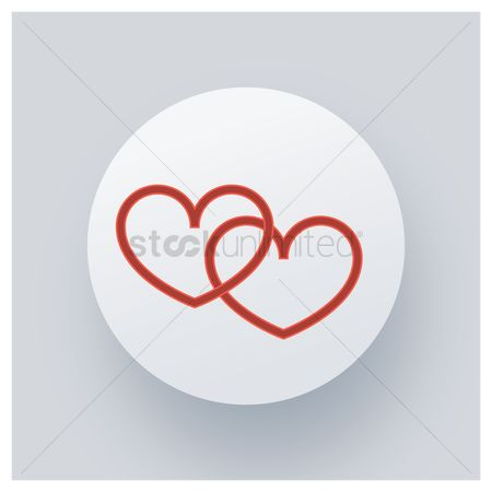 Online dating icon : Double hearts icon