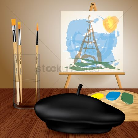 Brushes : Easel with canvas