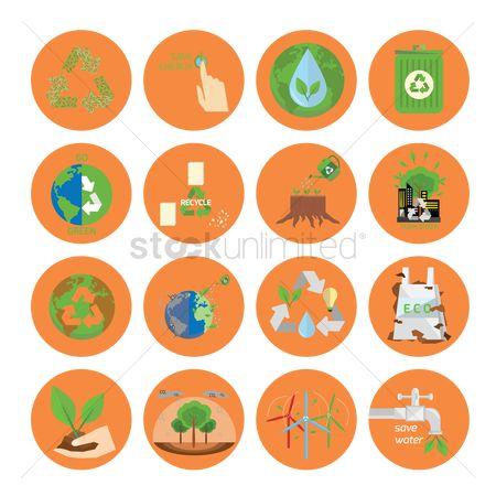 Save trees : Ecology and recycle icons