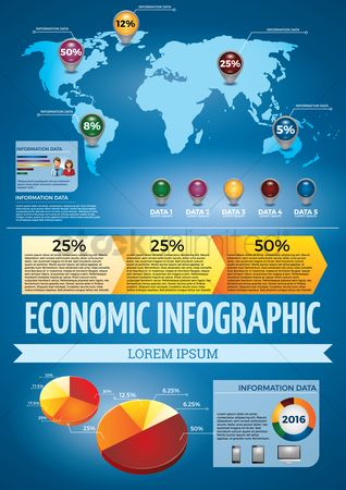Map pointer : Economic infographic