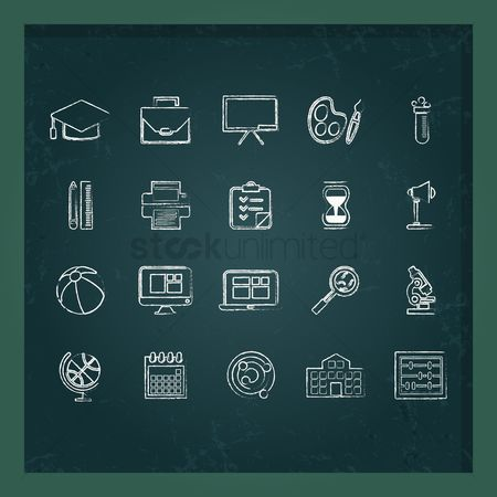 Buildings : Education icons set