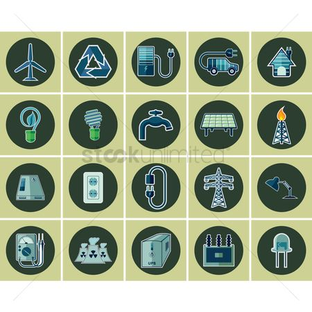 Electric cars : Electric icon set