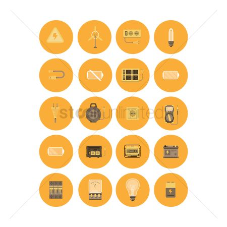 Electricity : Electrical appliances icon set