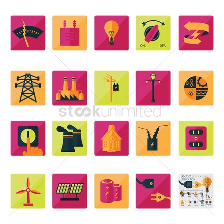 Illumination : Electricity related icon set