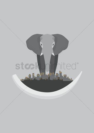 Huge : Elephant with cityscape in the foreground