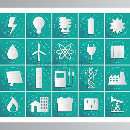 Lighting : Energy related icon set