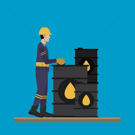 Oil drum : Engineer with oil barrels