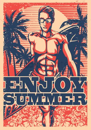 Surfboards : Enjoy summer poster