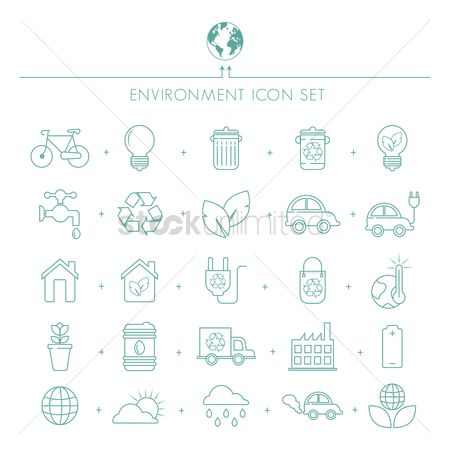 Electric cars : Environment icons set