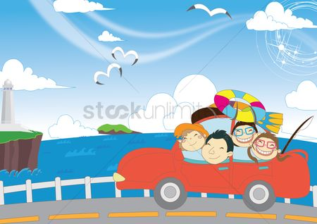 Lighthouses : Family going for vacation in car