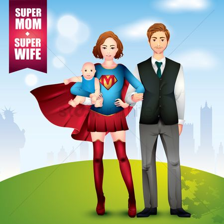 Babies : Family of super wife with husband and child